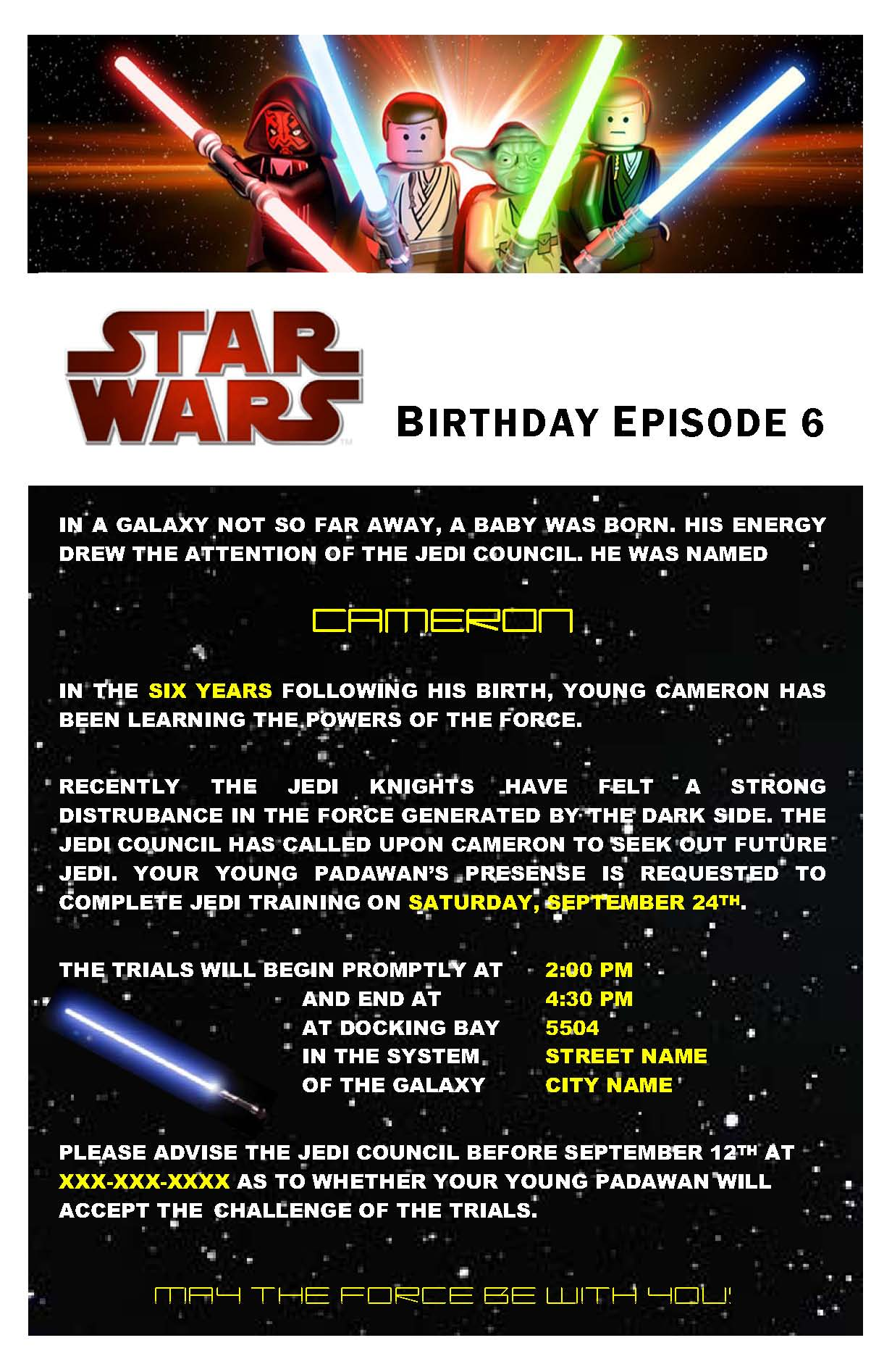 Star Wars Birthday Party – Star Wars Party Invitation